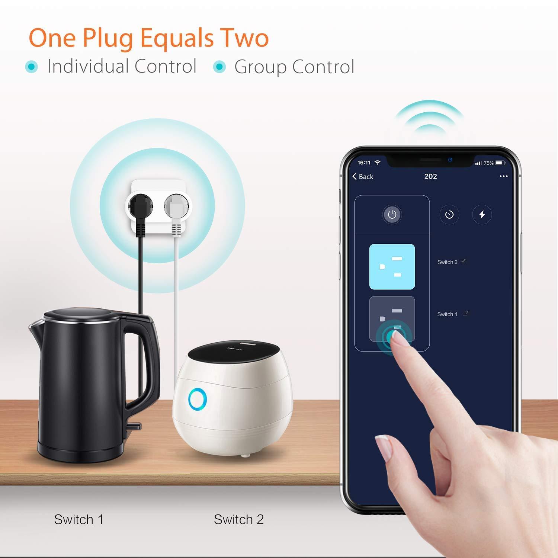 Google Home et IFTTT meross Multiprise Connect/ée WiFi avec 4 Prises et 4 USB Ports 2400W 10A Multiprise avec Contr/ôle /à Distance et Fonction de Temps Multiprise Intelligente Compatible avec Alexa